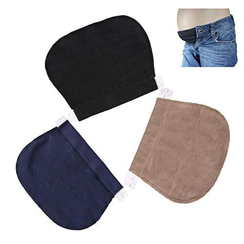 EUYOUZI Pregnancy Waistband Extender Adjustable Elastic Pant Expectant Belly Belt Combo (Black+Blue+Khaki) -
