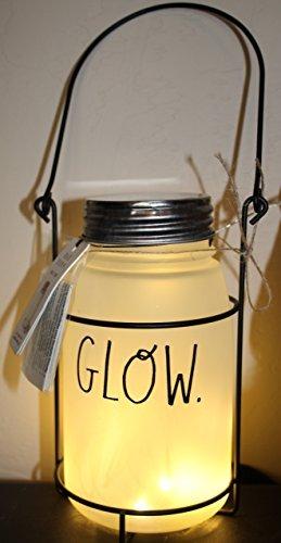 Rae Dunn von Magenta Glow in Großen Buchstaben Mason Glas Teelicht Kerzenhalter mit beleuchtetem Innen mattiert auf Rack mit Griff. (Griffen Mit Großen Gläser Mason)