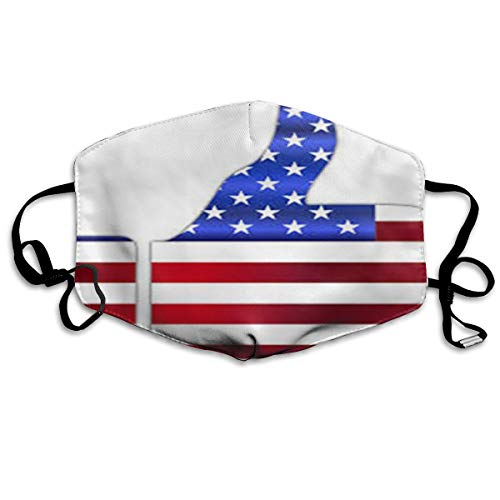 Anti-Dust Anime Cotton Mask American Flag Clipart Transparent Ski Cute Face Mouth Mask for Kids Teens Men Women -