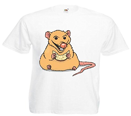 Motiv Fun T-Shirt Ratte Käse essend Cartoon Spass Kult Film Motiv Nr. 12255 Weiß