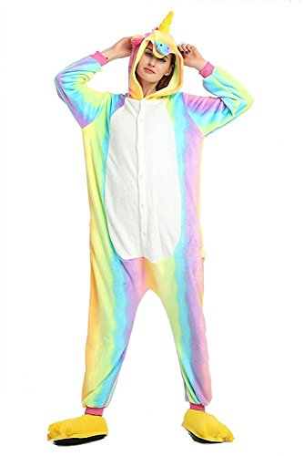 (ABYED® Kostüm Jumpsuit Onesie Tier Fasching Karneval Halloween kostüm Erwachsene Unisex Cosplay Schlafanzug- Größe XXL -for Höhe 182-190CM, Regenbogen-gelbes Einhorn)