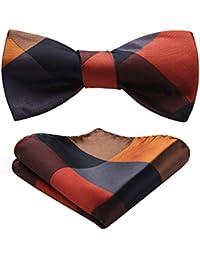 Men/'s Striped Jacquard Wedding Party Self Bow Tie Pocket Square Set Nav