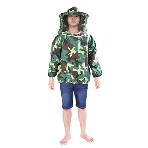 Jacksking Imker-Jacke, Berufsimker-Jacken-Anzug Imkerschutzausrüstung mit Kapuzenschleier-Schutzanzug - Waschbar Anzug Jacke
