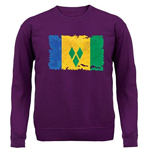 Saint Vincent and the Grenadines / St. Vincent und die Grenadinen Flagge im Grunge-Stil - Unisex Pullover/Sweatshirt - Lila - S