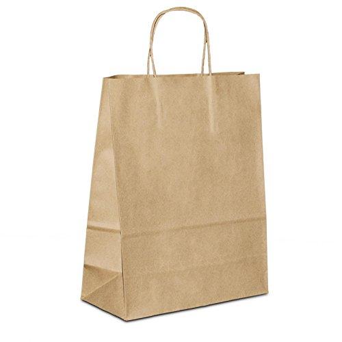 300 x Tragetüten Papier braun 18+08x22 cm | stabile Papiertüten | Einkaufstüten Kordelhenkel | Paper Bag klein | Papiertaschen | HUTNER (Shopping Bags, Papier)