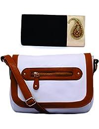 Kleio Combo Of Ethnic Velvet Sling Broach Clutch & Small White Leatherette Sling Bag