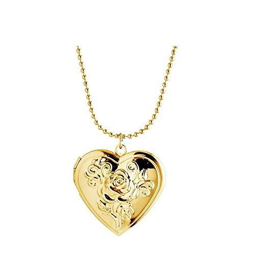 Frauen Fashion Herzform Foto Medaillon pendantjewelry 18K vergoldet Halskette (Gold Medaillon Anhänger)