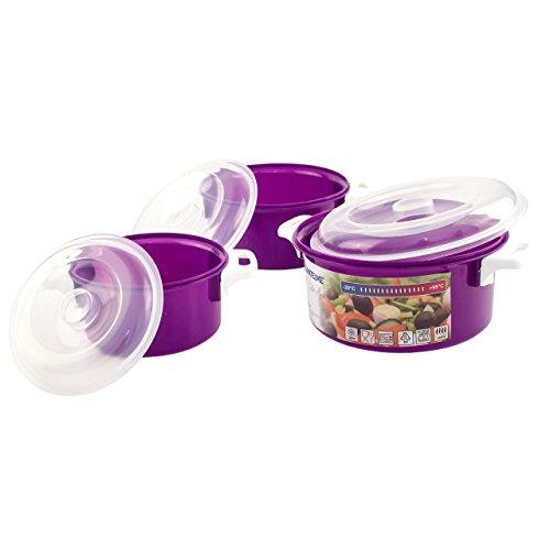 Lantelme 3 Stück Mikrowellenschüssel Kunststoff Farbe violett - Schüssel mit Deckel - Spülmaschinenfest 4523