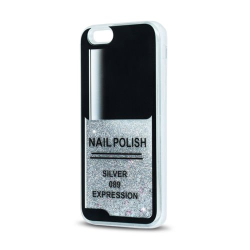 FUN CASE Nägel für Apple iPhone 6 / 6S Handy Cover Hülle Case Glitzer Sterne Flüssig Sternenstaub (pink) silber