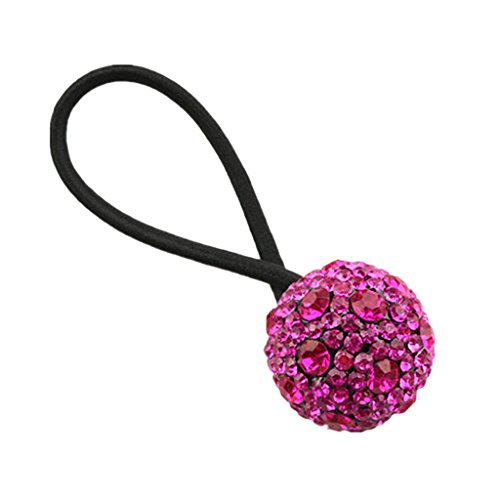 Baoblaze Bande Queue de Cheval Support Bandeau Diamant Balle Strass Femme Accessoire Mode - Rose Rouge