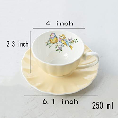 Tasses à café,Mug en céramique et Soucoupe Tasses à thé et soucoupes Tasse Espresso Cadeau Convient pour Le Bureau et la Maison Cool-Jaune 250ml