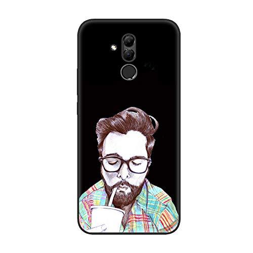 Aksuo Funda For Huawei Mate 20 Lite Negro , TPU Anti-Rasguño Anti-Golpes Cover Protectora Negro Caso Slim Silicona Case - El Sr. Barba Bebe Soda