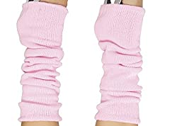 Luxurious Ladies 80's Dance Plain Ribbed Leg Warmers, Neon Leg Warmers 15 Colours (Baby Pink)
