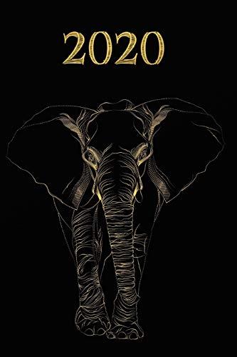 2020: Calendario e Agenda settimanale  2020  + calendario mensile + 20 pagine Indirizzi +20 pagine foderate +20 pagine Blanco per schizzi - Oro nero , Elefante