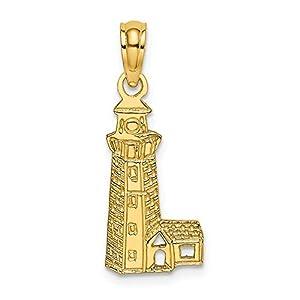 Charm/Anhänger aus 14 Karat Gelbgold, Motiv Leuchthaus