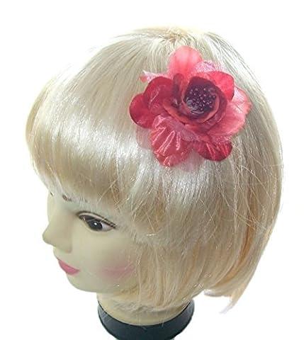 petit rose rouge hair flower clip et broche