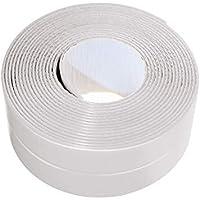 Tira autoadhesiva para juntas, de polipropileno, para bañera y pared, 3,8 cm x 3,35 m, color blanco