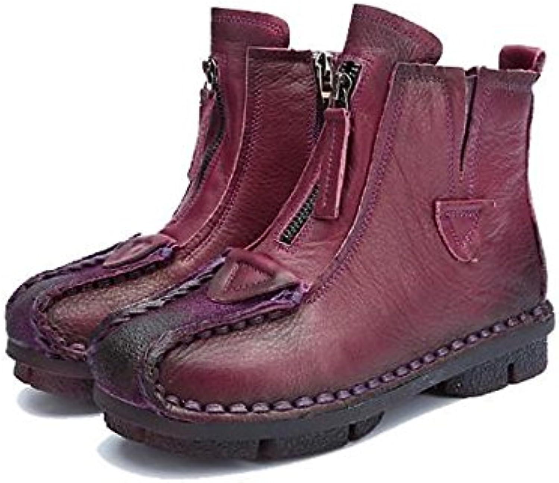 ZHZNVX HSXZ Zapatos de Mujer Otoño Invierno Botas de Cuero Confort bajo el Talón Puntera Redonda Botines/Botines...