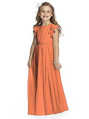 Izanoy Mädchen Blumenmädchen Kleid Junior Brautjungfer Kleid Erste Kommunion Festzug Kleid Orange 12