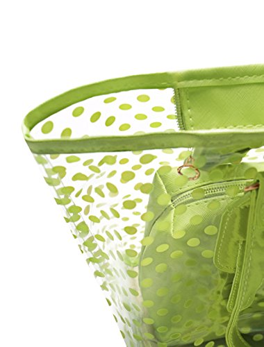 Allegra K Donna Pois Stampe Trasparente Chiusura A Zip Pannello Design Borsa grande w borsa Verde