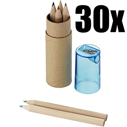 STOCK 30 PEZZI Piccolo astuccio set colori con 6 matite pastelli colori e appuntamatite