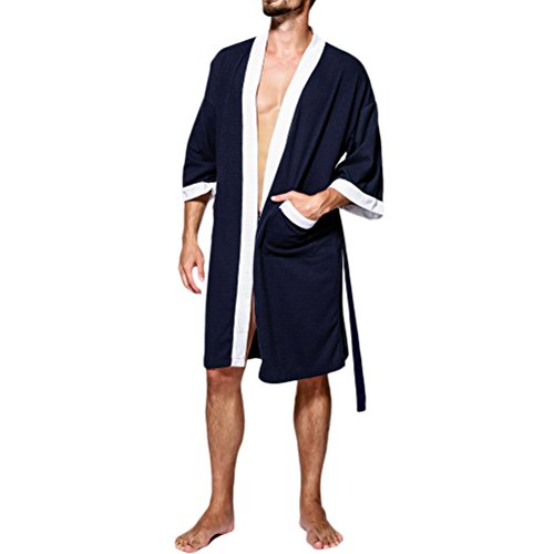 Zhhlinyuan Herren Waffle Soft Cotton Kimono Morgenmäntel Robe Bademäntel Wrap Housecoat für Gents Spa Hotel Pool All Seasons (Wrap Front Robe)