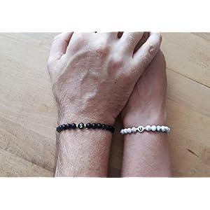 2x Partner Armband Partnerarmbänder Ying Yang Partnerarmband Schwarz Perlen Onyx Edelstein Pärchen Partner Armbänder…
