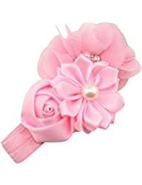 Sanwood Baby Girl Headband Infant Chiffon Headdress Faux Pearl Hairband (Pink)