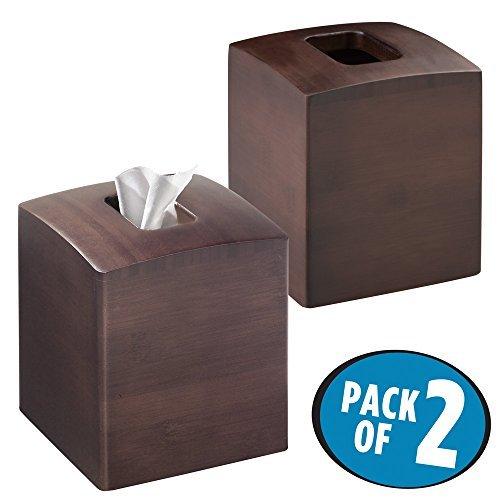 mDesign Juego de 2 cajas de pañuelos con forma cuadrada – Práctico dispensador de pañuelos para el cuarto de baño – Caja para pañuelos de papel con un diseño moderno y elegante – expreso