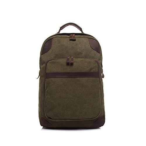 BAGEHUA Männer Retro Canvas Rucksack Damen Mode langlebig Rucksäcke Laptoptaschen (Breite 35 cm Höhe 40 cm Dicke 12 cm) Army green