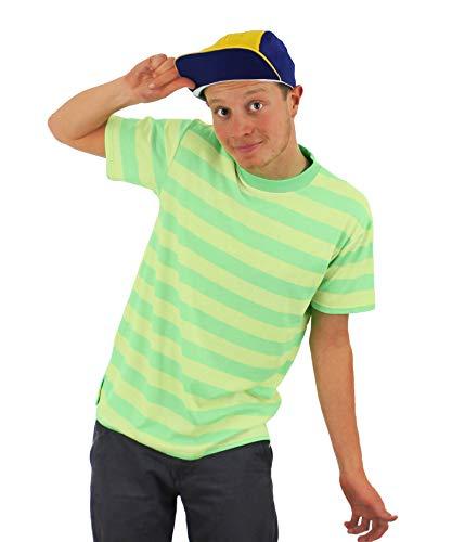 Bel Luft Prinz Maskenkostüm NEON GELB & grün Streifen T-Shirt + gelb & blau Baseball Stil Kappe Retro tv-charakter 90's Jahre - Gelb, SMALL -