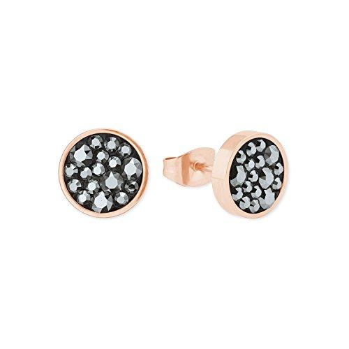 s.Oliver Damen-Ohrringe runde Edelstahl Swarovski Kristalle IP rosé 10mm
