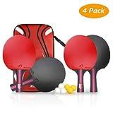 Weeygo Set da Ping Pong Professionale 4 Racchette in Gomma Premium a Doppia Faccia con 6 palle da ping pong + custodia per Allenatori, Amatori, Principianti, Esperti