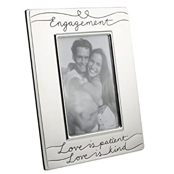Silver Plated Satin Finish Love Is .... Engagement Frame For 4 X 6 Photo 0