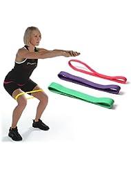Kosee Las Bandas de Resistencia Establecidos para Fitness Ejercicio – Conjunto de Tres Bandas de Rendimiento Físico – Ideales Para la Terapia Física – Bandas Elásticas de Entrenamiento de Potencia Theraband