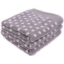 Lasa Graphic Dots - Juego de toalla para tocador, 33 x 50 cm, lavabo, 50 x 100 cm y baño, 100 x 150 cm, color gris