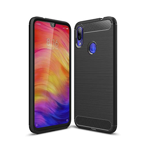 KISCO per Custodia Xiaomi Pocophone F2,Ultra Slim Flexible Soft Carbon Fiber,Defender Shockproof Protective Case per Xiaomi Pocophone F2 Case-Nero