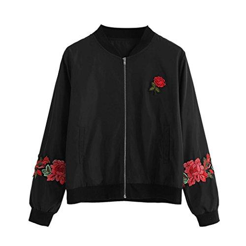 FORH Damen Chic Stickerei Rose Blumen jacke Retro Zipper Elegant Blazer Kurzjacke Bomberjacke Baseball outwear Winter Steppjacke Rundhals...