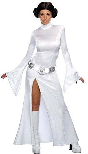 Fancy Me Damen Sexy Prinzessin Leia Star Wars plus Wig Lizensiert Büchertag Kostüm Kleid Outfit - Weiß, Weiß, 8-10