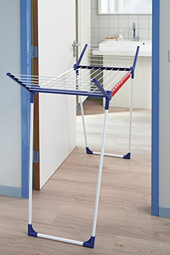 Leifheit Pegasus 180 Plus Mobile-Tendedero de pie, Metal, Azul, Blanco, 1x66.3x6.2 cm