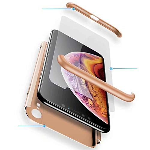 Fanxwu Kompatibel mit Xiaomi Mi Max 3 Hülle 3 in 1 Kombination 360 Grad Schutz Schutzhülle [Gehärtetes Glas Schutzfolie] Anti-Kratzer Schützend Abdeckung - Gold