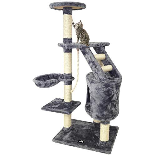 Todeco - Árbol para Gatos, Escalador para Gatos - Material: MDF - Tamaño de la casa de Gato: 30,0 x 30,0 x 42,9 cm - 120 cm, 5 Plataformas, Gris