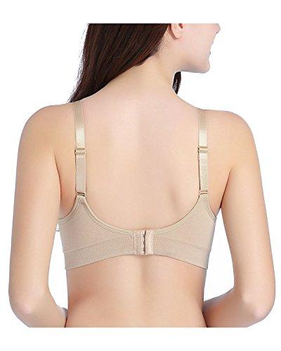 KissLace Damen ohne Bügel Nahtloser weicher Still-BH verstellbare Schwangerschaft komfortabel Bra Beige