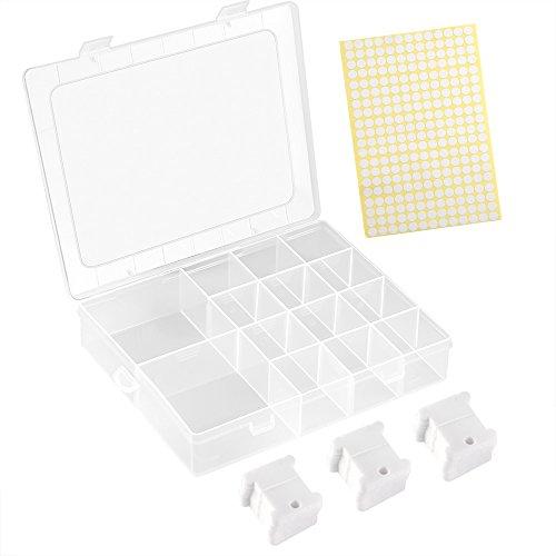 FEPITO 120 Stück Weißer Kunststoff Kreuzstich Stickgarn Spulen Kreuzstich Faden Set mit Aufbewahrungs Box und 260 Stück Leere Aufkleber -