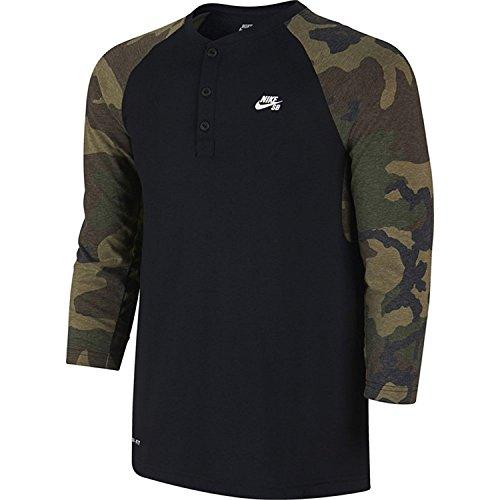 Nike SB Herren Camo Henley T-Shirt (Klein) (Camo Shirt Henley)