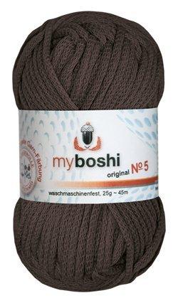 Myboshi No. 5, Farbe 574 kakao, 25g Knäuel, Sommerwolle, häkeln, Seelengarn, 57% Baumwolle und 43% Polyamid, Trendwolle, Häkel- & Strickgarn