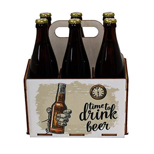 41WILRcGWsL - Bierträger aus Holz - Sixpack - 6er Träger - Sechserträger - Geschenk Männer, Bier, Grillzubehör, Geburtstagsgeschenk für Männer, Grillparty, Bier-Geschenk