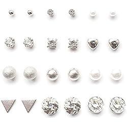 YouOne pack 12 pendientes mujer plata set joyeria plateado circonita, perlas, brillantes, acero imitacion plata joyas de mujeres joyeria y bisuteria niña madre novia San valentin (Grey)