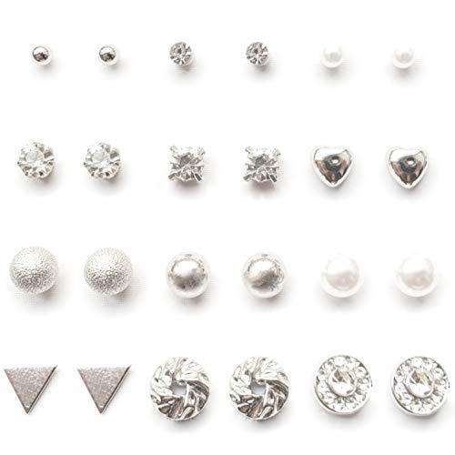 YouOne pack 12 pendientes mujer plata set joyeria plateado circonita, perlas, brillantes, acero imitacion plata joyas de mujeres joyeria y...