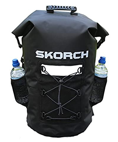 SKORCH Waterproof Backpack Dry Bag with Padded Shoulder Straps. Durable Watertight Sack for Your Gear and Valuables (Clothing, Kit, Food, Camera, Phone, Wallet, Wetsuit) for the Active Outdoors Lifestyle – PicnIc, Kayaking, Boating, Sailing, Scuba Diving, Skiing, Swimming, Paddle boarding or Camping. Easy Water Seal Fastening and Simple Wipe to Clean Maintenance. (Black Waterproof Backpack with pockets